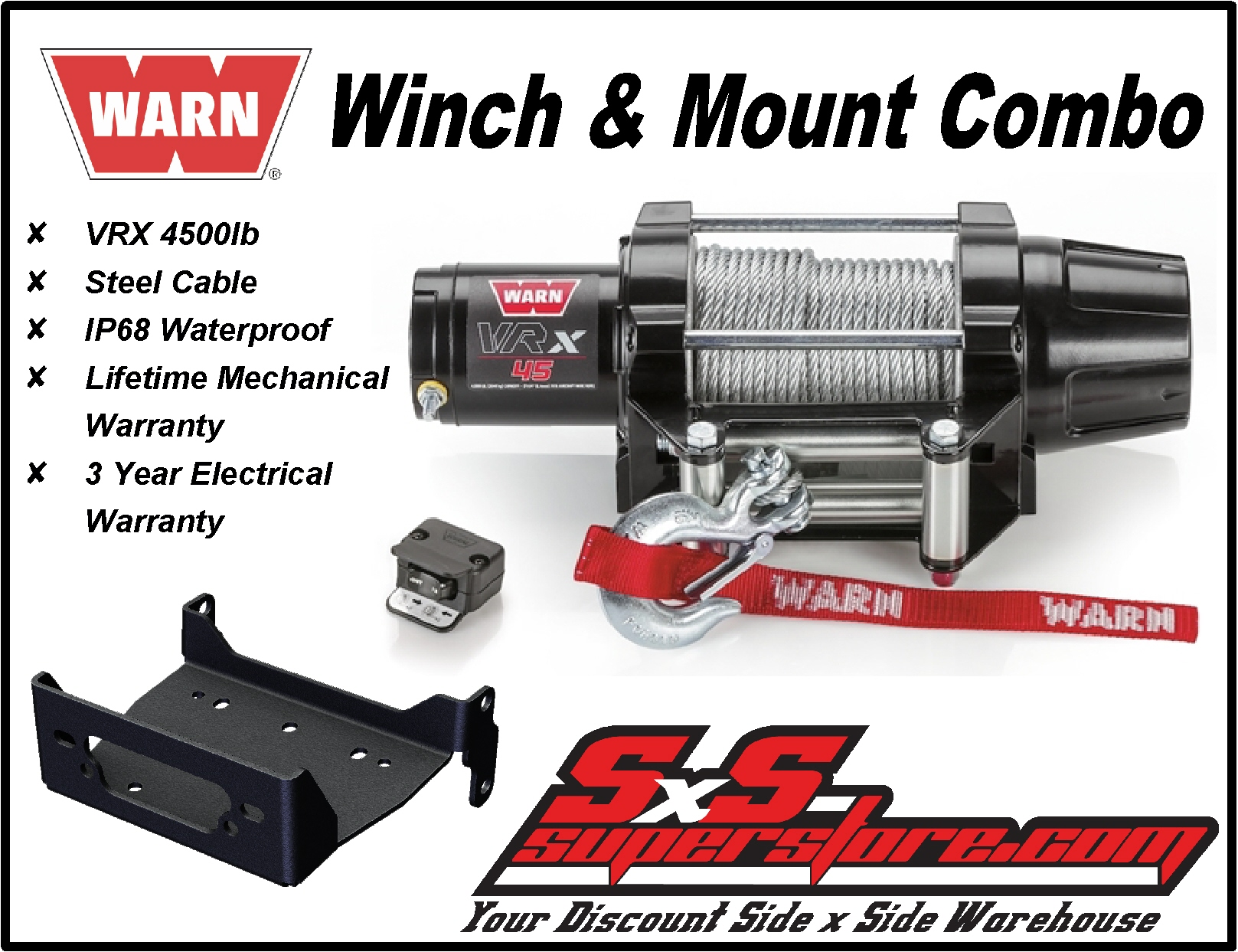 Warn VRX4500 Replacement Service Winch for ATV and UTV Side-by-Side 101044